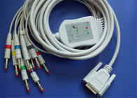 Nihon Kohden 10 / 12 Lead EKG Cable With Resistor Grabber / Banana